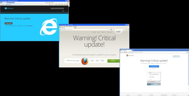 Falsas actualizaciones críticas de los principales navegadores de internet