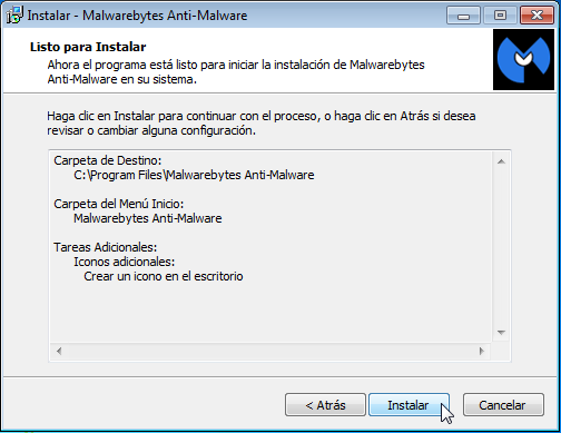 Malwarebytes - Pantalla Instalar