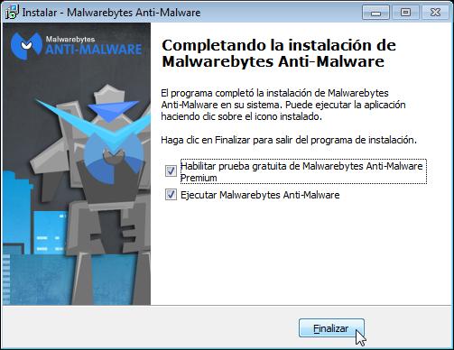 Malwarebytes - Pantalla Instalado