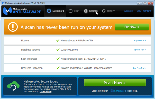 Malwarebytes - Settings