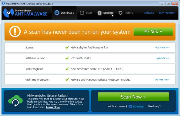 Malwarebytes - Settings