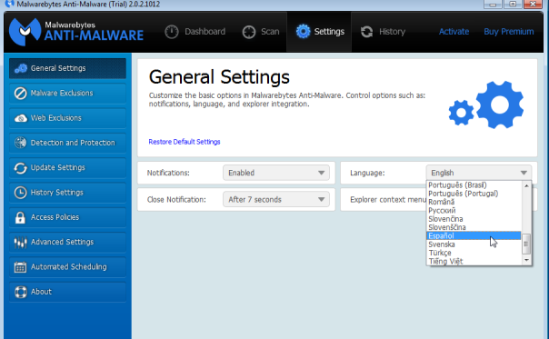 Malwarebytes - Settings 2