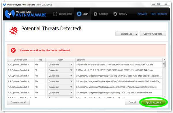 Malwarebytes Amenazas Encontradas